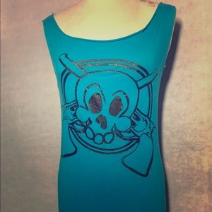 Big Skull with Guns graphic T-shirt dress